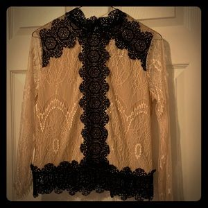 Black and antique rose laced blouse